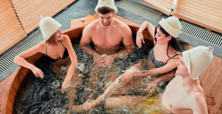 Couples Enjoying Hot Tub