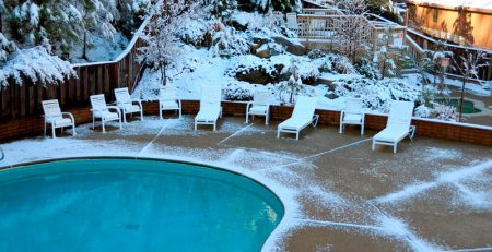 Snow Near Swimming Pool