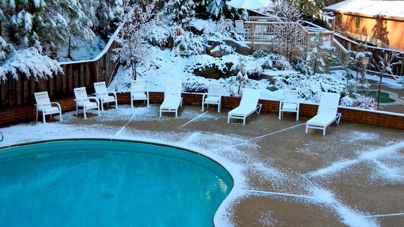 Snow Near Swimming Pool