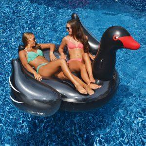 Swimline Giant Black Swan Ride-On Pool Float
